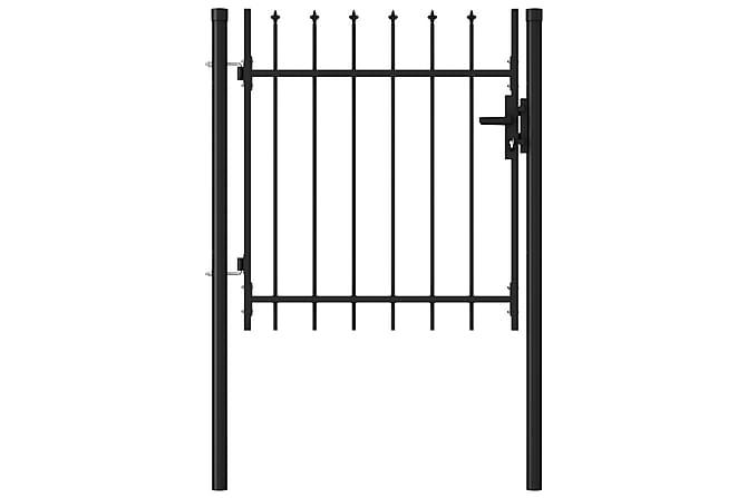 Puutarhaportti yksi ovi piikkikärjillä teräs 1x1 m musta - Musta - Piha - Puutarhakoristeet & pihatarvikkeet - Aidat & portit