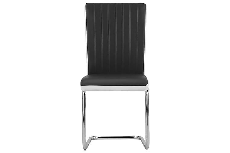 Ruokapöydän tuolit 2 kpl musta keinonahka - Musta - Piha - Puutarhakoristeet & pihatarvikkeet - Aidat & portit