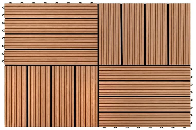 WPC Tiilet 30x30cm 11 kpl 1m2 Ruskea - Ruskea - Piha - Puutarhakoristeet & pihatarvikkeet - Terassilaatat