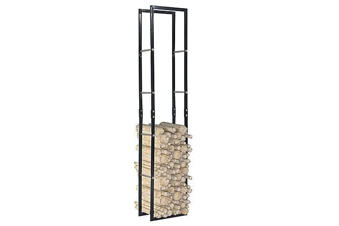 Polttopuuteline musta 40x25x200 cm teräs - Musta - Piha - Puutarhakoristeet & pihatarvikkeet - Polttopuun säilytys