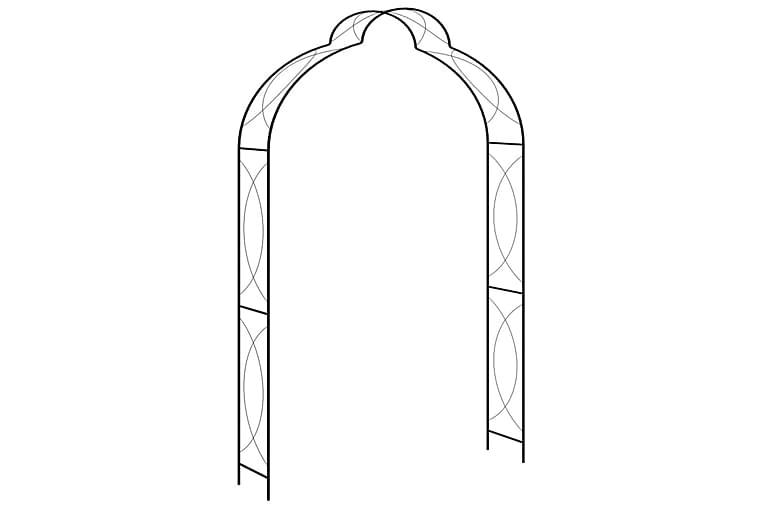 Puutarhakaari musta 150x34x240 cm rauta - Piha - Puutarhakoristeet & pihatarvikkeet - Koriste-esineet