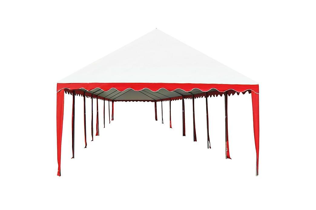 Puutarhakatos PVC 6x14 m punainen ja valkoinen - Punainen - Piha - Ulkosäilytys - Varastoteltat