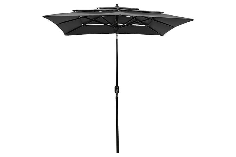 3-tasoinen aurinkovarjo alumiinitanko antrasiitti 2x2 m - Puutarhakalusteet - Aurinkosuojat - Aurinkovarjot