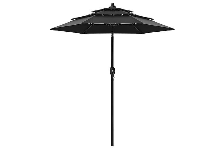 3-tasoinen aurinkovarjo alumiinitanko musta 2 m - Puutarhakalusteet - Aurinkosuojat - Aurinkovarjot