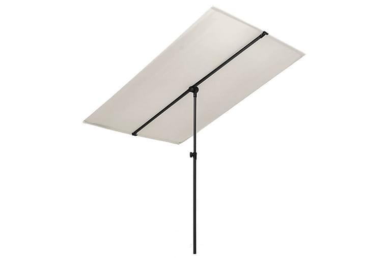 Aurinkovarjo alumiinitanko 180x130 cm hiekanvalkoinen - Valkoinen - Puutarhakalusteet - Aurinkosuojat - Aurinkovarjot