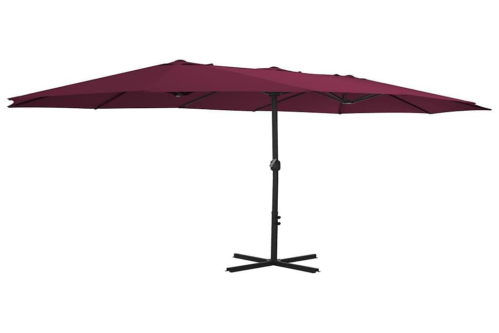 Aurinkovarjo alumiinitanko 460x270 cm viininpunainen - Punainen - Puutarhakalusteet - Aurinkosuojat - Aurinkovarjot