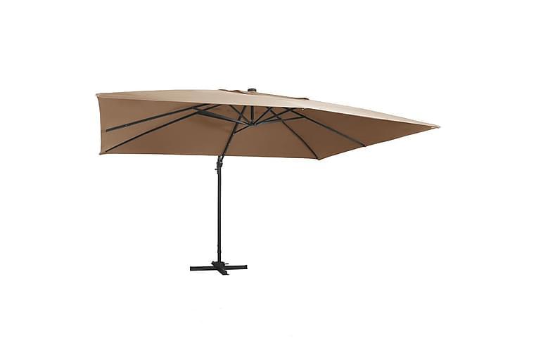Aurinkovarjo LED-valoilla alumiinipylväs 400x300cmnharm. - Ruskea - Puutarhakalusteet - Aurinkosuojat - Aurinkovarjot