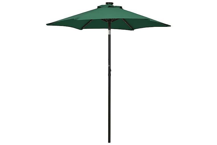 Aurinkovarjo LED-valolla vihreä 200x211 cm alumiini - Puutarhakalusteet - Aurinkosuojat - Aurinkovarjot