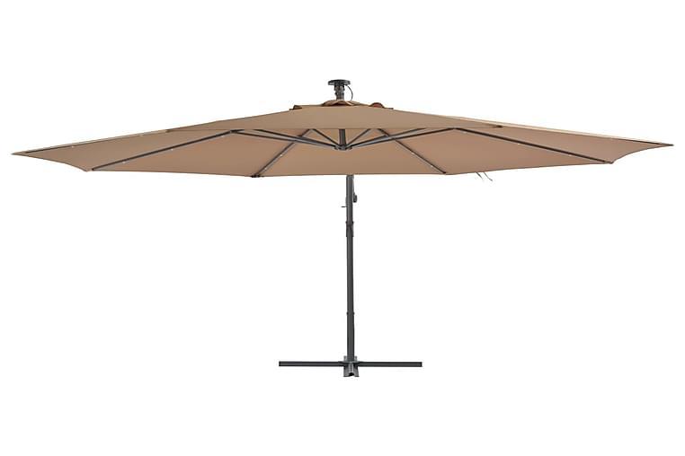 Aurinkovarjo LED-valot ja metallipylväs 350 cm ruskeanharmaa - Ruskea - Puutarhakalusteet - Aurinkosuojat - Aurinkovarjot