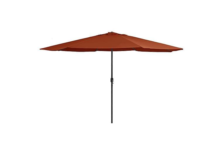 Aurinkovarjo metallirunko 400 cm terrakotta - Punainen - Puutarhakalusteet - Aurinkosuojat - Aurinkovarjot