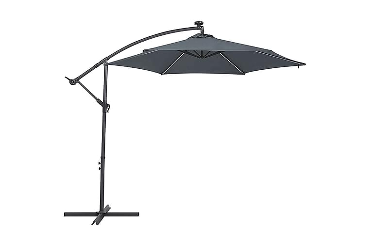Aurinkovarjo Montoito 285 cm LED-valaistuksella - Harmaa - Puutarhakalusteet - Aurinkosuojat - Aurinkovarjot