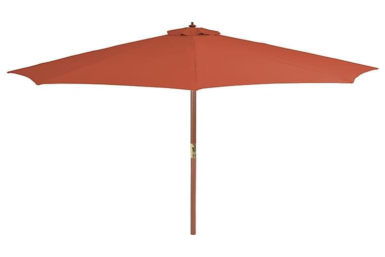 Aurinkovarjo puurunko 300 cm terrakotta - Oranssi - Puutarhakalusteet - Aurinkosuojat - Aurinkovarjot