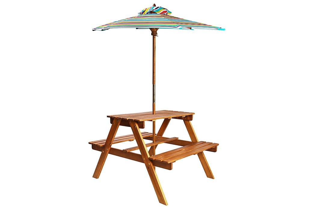 Lasten piknikpöytä aurinkovarjolla 79x90x60cm - Ruskea - Puutarhakalusteet - Aurinkosuojat - Aurinkovarjot