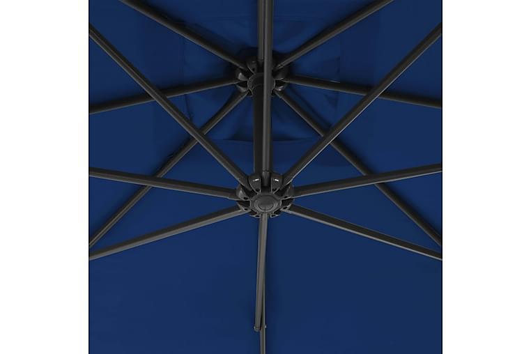 Riippuva aurinkovarjo teräspylväällä 300 cm taivaansininen - Puutarhakalusteet - Aurinkosuojat - Aurinkovarjot