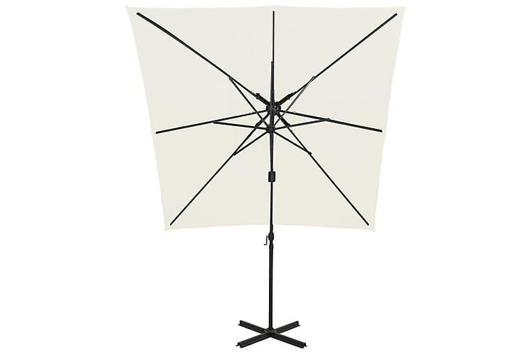 Riippuva aurinkovarjo tuplakatolla 250x250 cm hiekka - Puutarhakalusteet - Aurinkosuojat - Aurinkovarjot