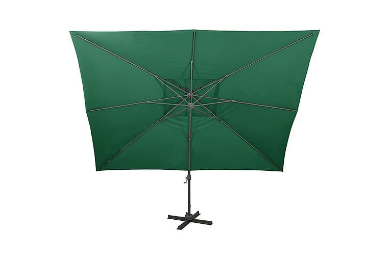 Riippuva aurinkovarjo tuplakatolla vihreä 400x300 cm - Vihreä - Puutarhakalusteet - Aurinkosuojat - Aurinkovarjot