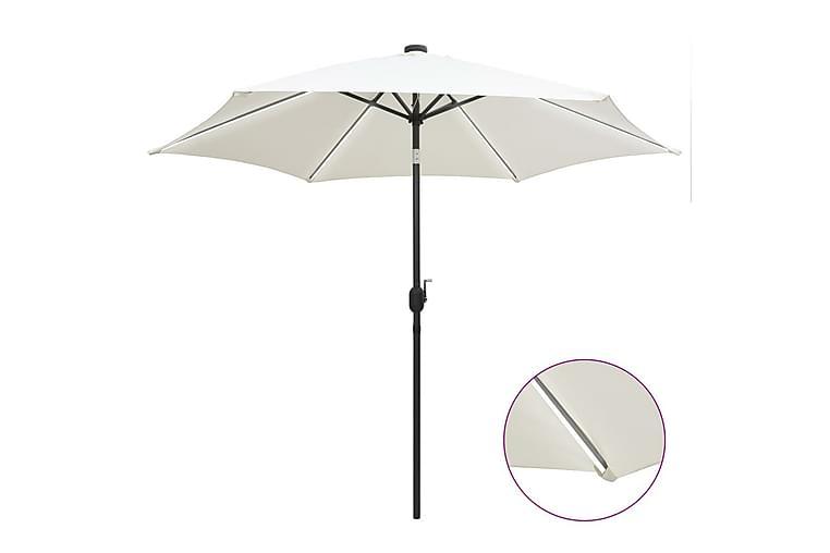 Ulkoaurinkovarjo LED-valot alumiinitanko 300 cm - Valkoinen - Puutarhakalusteet - Aurinkosuojat - Aurinkovarjot