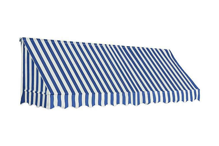 Bistromarkiisi 300x120 cm sininen ja valkoinen - Sininen - Puutarhakalusteet - Aurinkosuojat - Markiisit