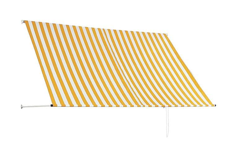 Sisäänkelattava markiisi 250x150 cm keltainen ja valkoinen - Monivärinen - Puutarhakalusteet - Aurinkosuojat - Markiisit