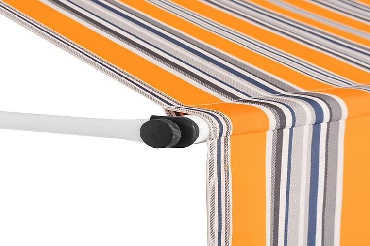 Sisäänkelattava markiisi 350 cm Sinikeltaiset raidat - Keltainen - Puutarhakalusteet - Aurinkosuojat - Markiisit
