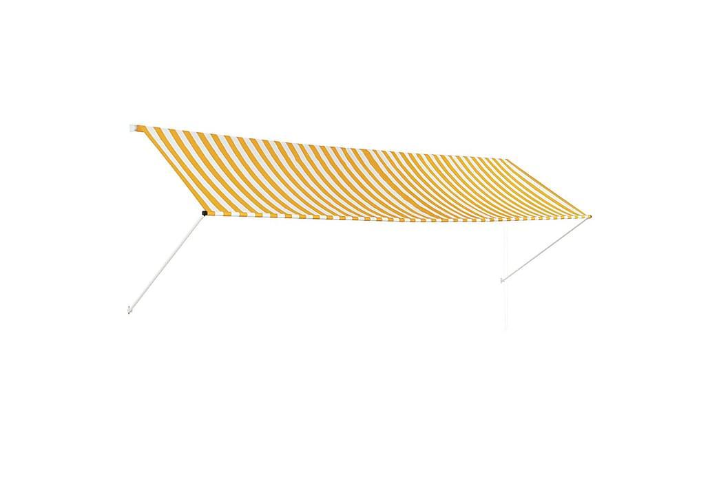 Sisäänkelattava markiisi 400x150 cm keltainen ja valkoinen - Monivärinen - Puutarhakalusteet - Aurinkosuojat - Markiisit
