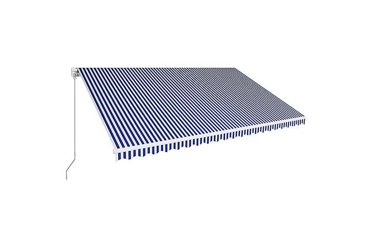 Sisäänkelattava markiisi 500x300 cm sininen ja valkoinen - Sininen - Puutarhakalusteet - Aurinkosuojat - Markiisit