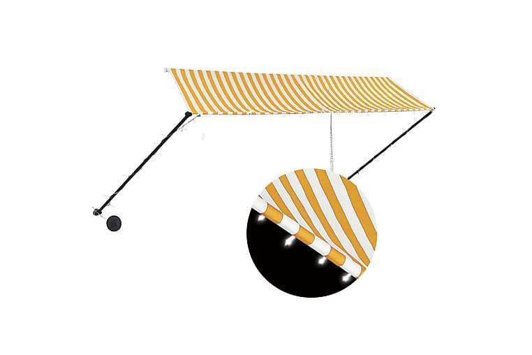 Sisäänkelattava markiisi LEDillä 350x150cm - Keltainen - Puutarhakalusteet - Aurinkosuojat - Markiisit