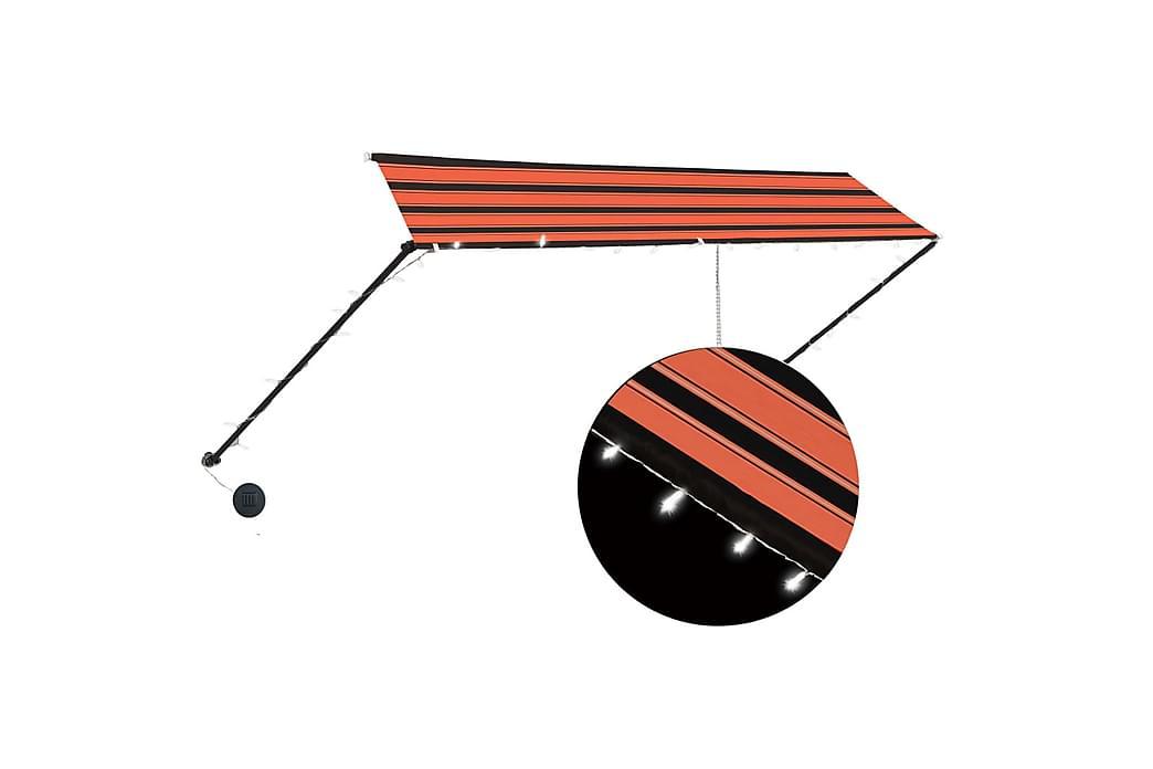 Sisäänkelattava markiisi LEDillä 350x150cm oranssi ja ruskea - Monivärinen - Puutarhakalusteet - Aurinkosuojat - Markiisit