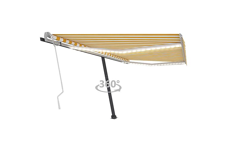 Sisäänkelattava markiisi LEDillä 400x350 cm keltavalkoinen - Keltainen - Puutarhakalusteet - Aurinkosuojat - Markiisit