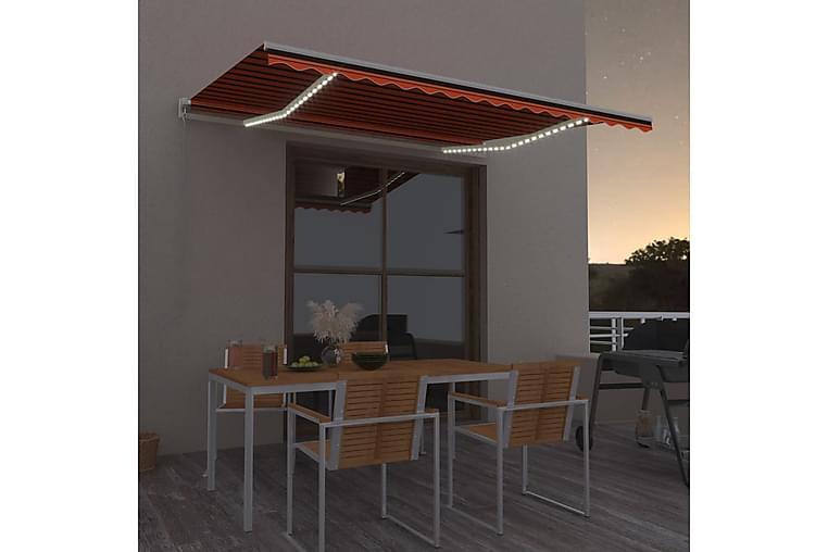 Sisäänkelattava markiisi LEDillä 450x300 cm oranssiruskea - Puutarhakalusteet - Aurinkosuojat - Markiisit