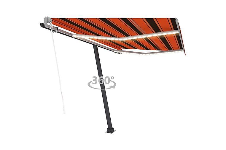 Sisäänkelattava markiisi LED/tuulisens. 350x250cm - Oranssi - Puutarhakalusteet - Aurinkosuojat - Markiisit