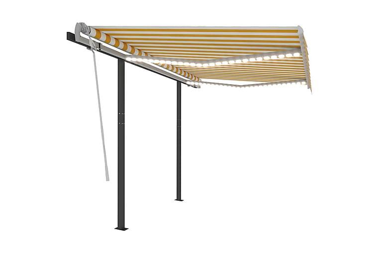Sisäänkelattava markiisi LED/tuulisensori 3x2,5 m keltavalk. - Puutarhakalusteet - Aurinkosuojat - Markiisit