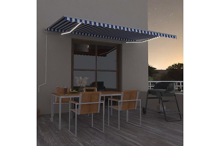 Sisäänkelattava markiisi LED/tuulisensori 500x350cm sini - Puutarhakalusteet - Aurinkosuojat - Markiisit