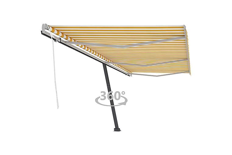Vapaasti seisova sisäänkelattava markiisi 600x350 cm - Keltainen - Puutarhakalusteet - Aurinkosuojat - Markiisit