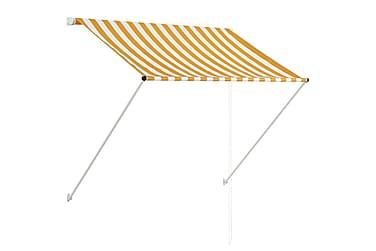 Sisäänkelattava markiisi 150x150 cm keltainen ja valkoinen