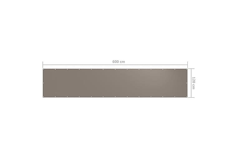 Parvekkeen suoja harmaanruskea 120x600 cm Oxford kangas - Taupe - Puutarhakalusteet - Aurinkosuojat - Parvekesuojat