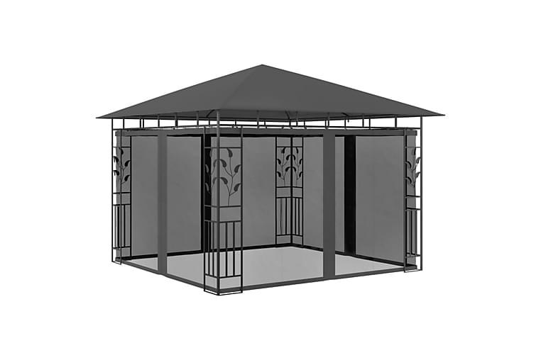Huvimaja hyttysverkolla 3x3x2,73 m antrasiitti 180 g/m² - Puutarhakalusteet - Aurinkosuojat - Paviljongit