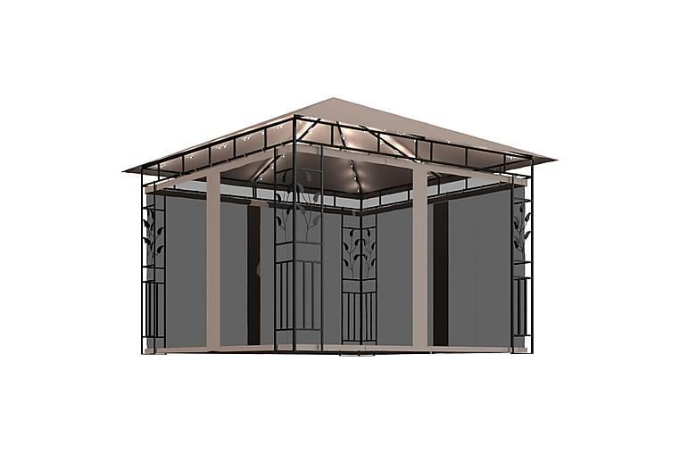 Huvimaja hyttysverkolla ja valonauhoilla 3x3x2,73 m - Puutarhakalusteet - Aurinkosuojat - Paviljongit