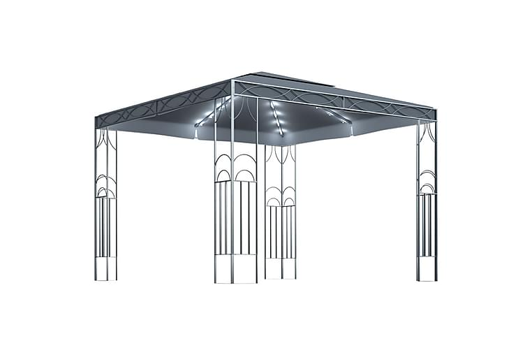 Huvimaja valonauhoilla 300x300 cm antrasiitti - Puutarhakalusteet - Aurinkosuojat - Paviljongit