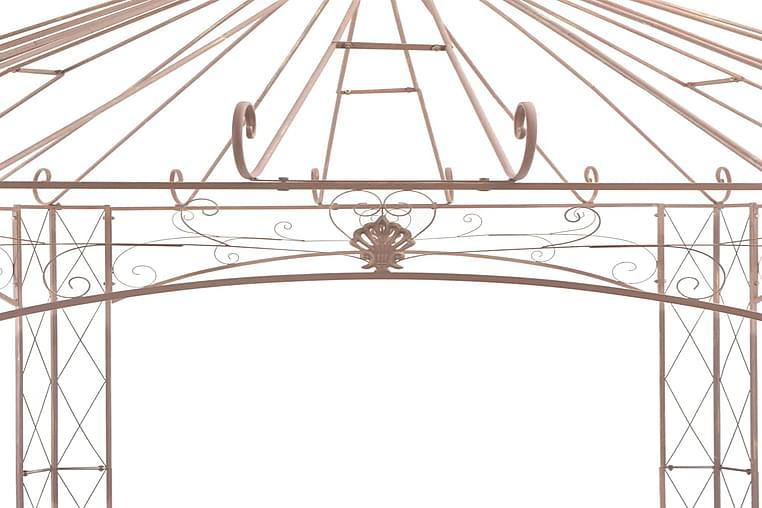Puutarhan huvimaja antiikinruskea 4 m rauta - Ruskea - Puutarhakalusteet - Aurinkosuojat - Paviljongit