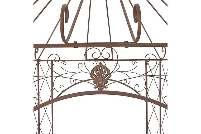 Puutarhan huvimaja antiikinruskea 558x350x408 cm rauta - Ruskea - Puutarhakalusteet - Aurinkosuojat - Paviljongit