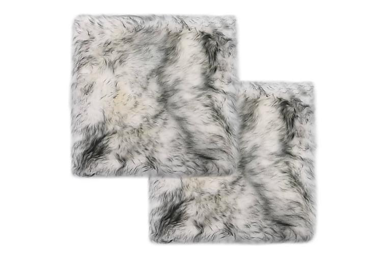 Tuolinpehmusteet 2kpl tummanharmaa 40x40cm aito lampaannahka - Harmaa - Puutarhakalusteet - Pehmusteet - Istuintyynyt ulos