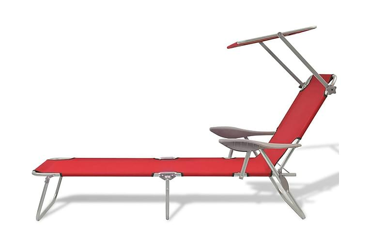 Aurinkotuoli katoksella teräs punainen - Punainen - Puutarhakalusteet - Tuolit & nojatuolit - Aurinkosänky & aurinkovaunu