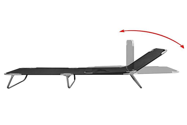 Kokoontaitettava aurinkotuoli jauhemaalattu teräs musta - Musta - Puutarhakalusteet - Tuolit & nojatuolit - Aurinkosänky & aurinkovaunu