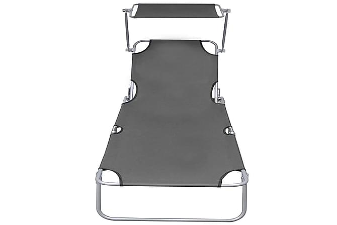 Kokoontaitettava aurinkotuoli katoksella teräs harmaa - Harmaa - Puutarhakalusteet - Tuolit & nojatuolit - Aurinkotuolit