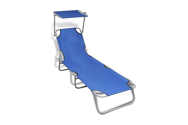 Kokoontaitettava aurinkotuoli katoksella teräs & kangas - Sininen - Puutarhakalusteet - Tuolit & nojatuolit - Aurinkosänky & aurinkovaunu