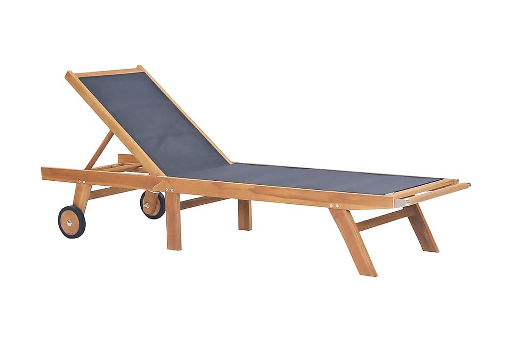 Kokoontaitettava aurinkotuoli pyörillä tiikki ja textilene - Monivärinen - Puutarhakalusteet - Tuolit & nojatuolit - Aurinkosänky & aurinkovaunu