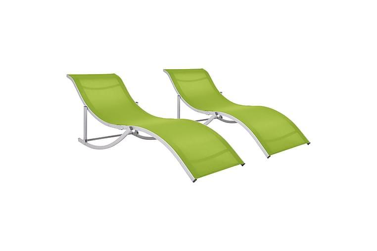 Kokoontaitettavat aurinkotuolit 2 kpl vihreä Textilene - Vihreä - Puutarhakalusteet - Tuolit & nojatuolit - Aurinkosänky & aurinkovaunu