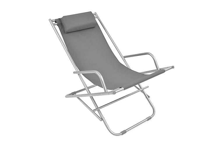 Kallistettavat rantatuolit 2 kpl teräs harmaa - Harmaa - Puutarhakalusteet - Tuolit & nojatuolit - Aurinkotuolit