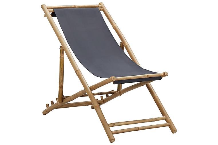 Kansituoli bambu ja kangas tummanharmaa - Harmaa - Puutarhakalusteet - Tuolit & nojatuolit - Aurinkotuolit